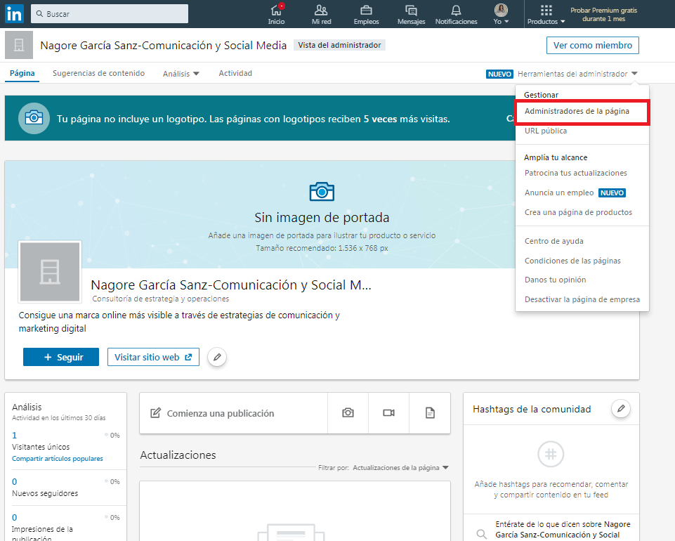 Linkedin administradores