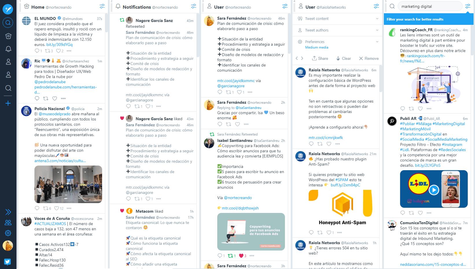 Programar redes sociales -tweetdeck